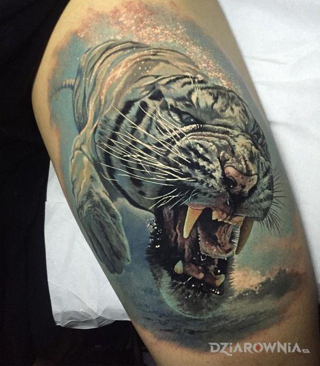 Tatuaż Nurkujący Tygrys Autor Nieznajomy Dziarowniapl