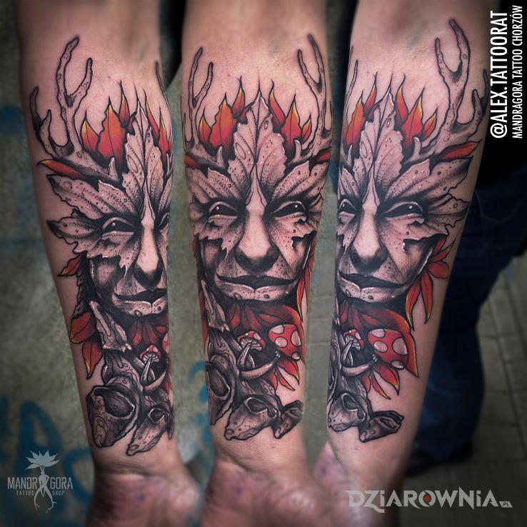Tatuaż leszy w motywie kolorowe i stylu surrealistyczne na przedramieniu