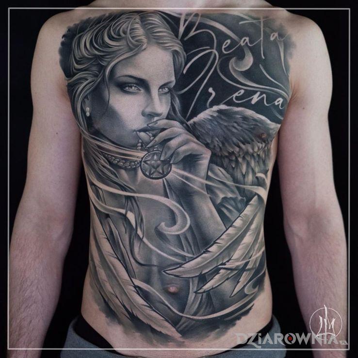 Tatuaż jedno wielkie wow w motywie anioły i stylu graficzne / ilustracyjne na obojczyku