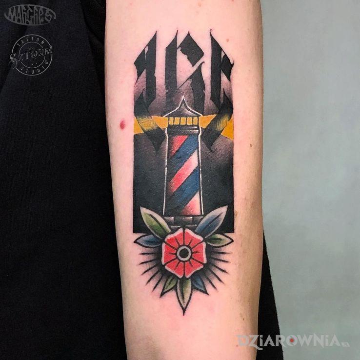 Tatuaż latarnia w motywie pozostałe i stylu oldschool na ramieniu