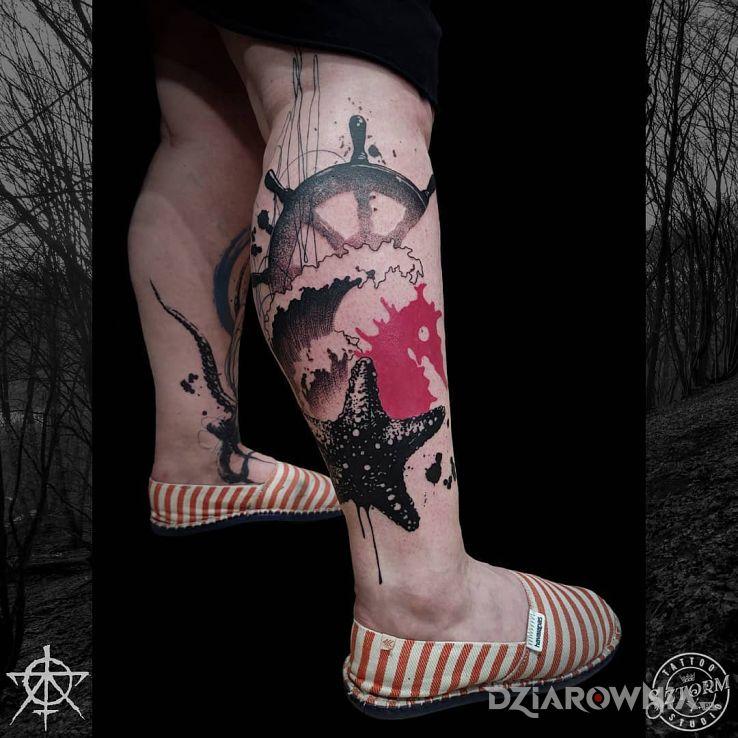 Tatuaż morski tatuaż w motywie zwierzęta i stylu graficzne / ilustracyjne na piszczeli