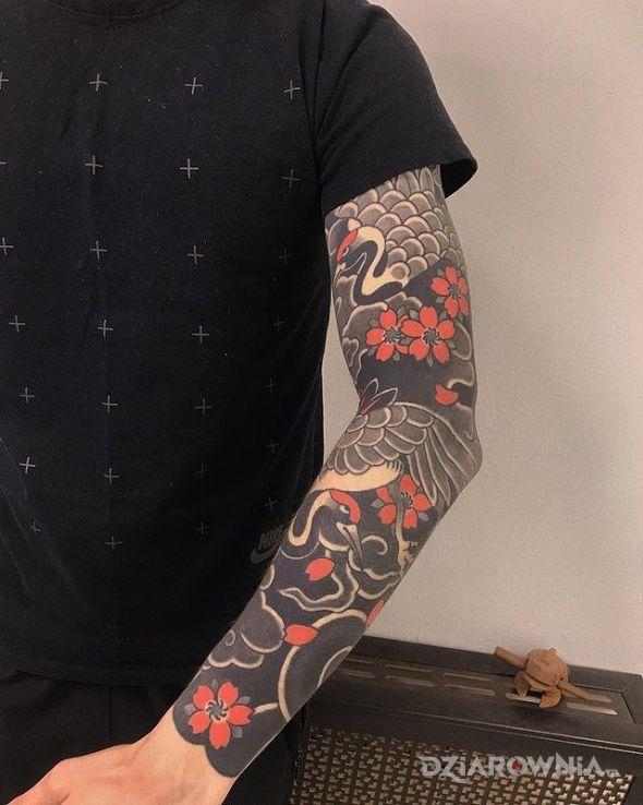 Tatuaż czaple w motywie zwierzęta i stylu japońskie / irezumi na przedramieniu