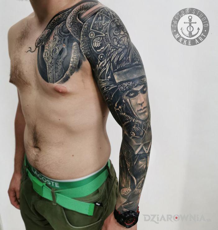 Tatuaż rękaw w motywie fantasy i stylu graficzne / ilustracyjne na ręce