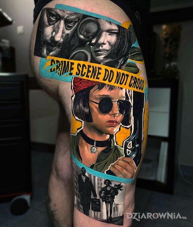 Tatuaż leon zawodowiec w motywie postacie i stylu realistyczne na pośladkach