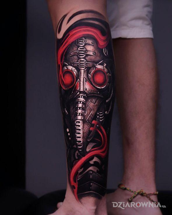 Tatuaż czerwone gały doktora plagi w motywie mroczne i stylu realistyczne na nodze