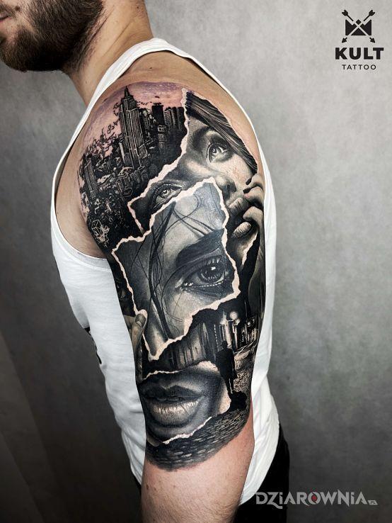 Tatuaż realistyczny kolaż w motywie nogawki i stylu modern / kubizm na ręce