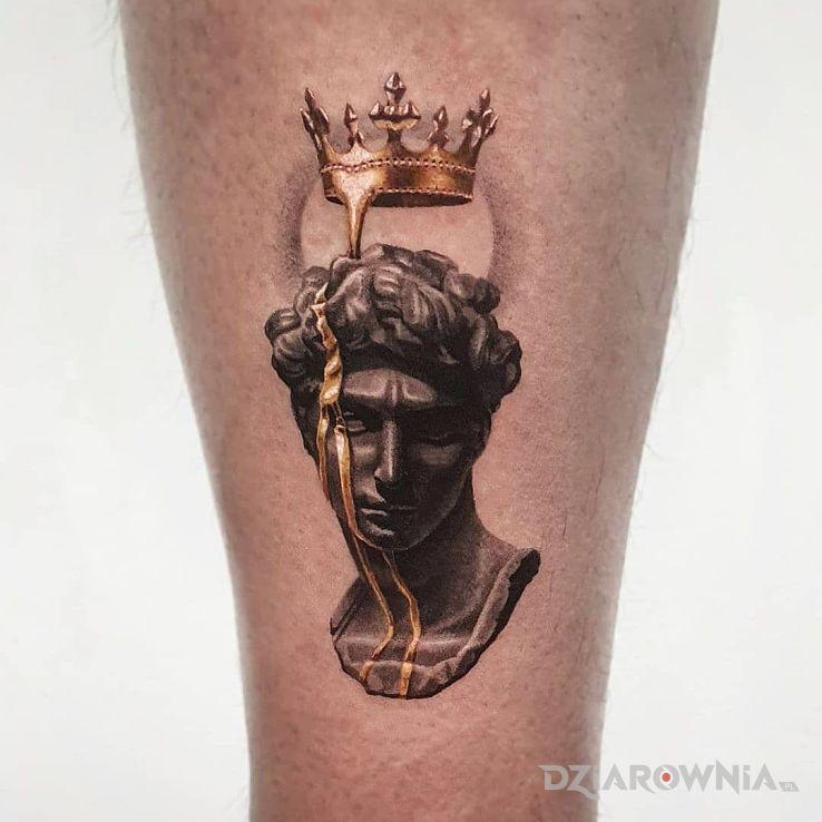 Tatuaż małe dzieło w motywie 3D i stylu realistyczne na łydce
