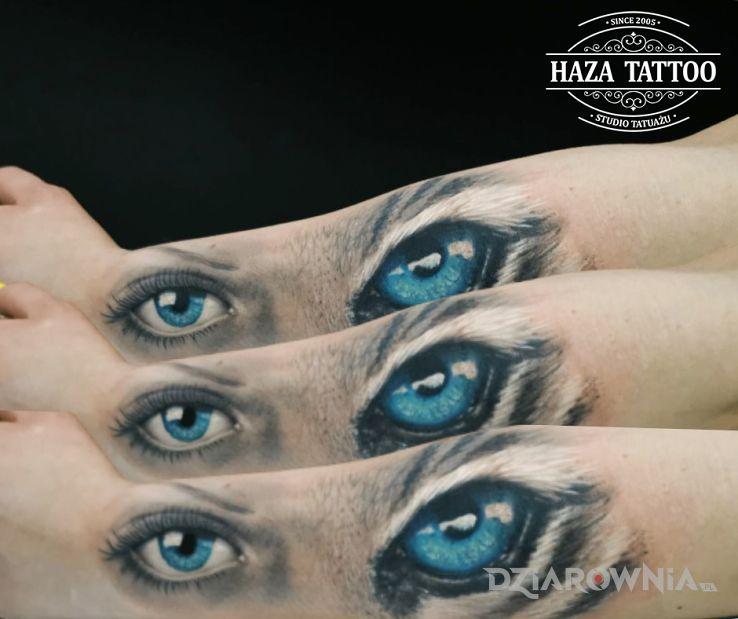 Tatuaż kobieta tygrys  blizna w motywie zwierzęta i stylu abstrakcyjne na przedramieniu