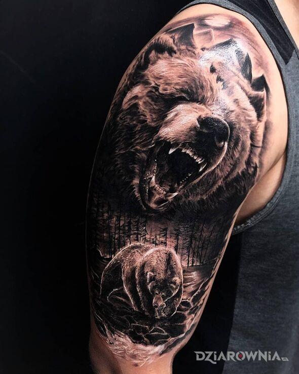 Tatuaż grizzle w motywie 3D i stylu realistyczne na ręce