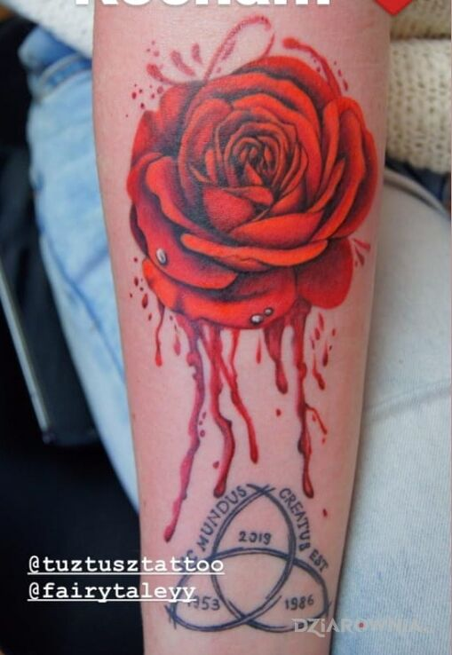 Tatuaż krwawa w motywie 3D i stylu realistyczne na przedramieniu