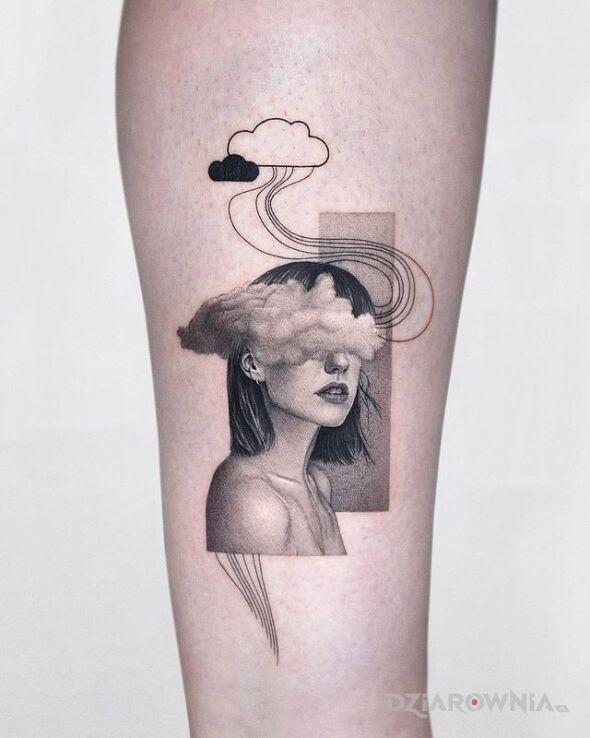 Tatuaż z glowa w chmurach w motywie twarze i stylu realistyczne na przedramieniu