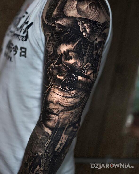 Tatuaż klimat azji w motywie czarno-szare i stylu realistyczne na ręce