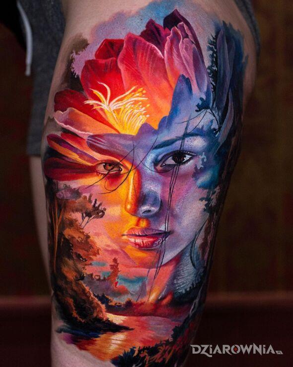 Tatuaż dziewczyna i ładny widoczek w motywie kwiaty i stylu realistyczne na nodze