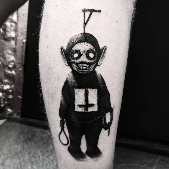 tatuaż teletubiś z szubienicą