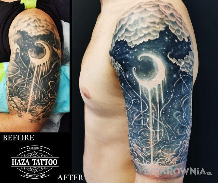 Tatuaż nieboskłon w motywie pozostałe i stylu graficzne / ilustracyjne na ramieniu