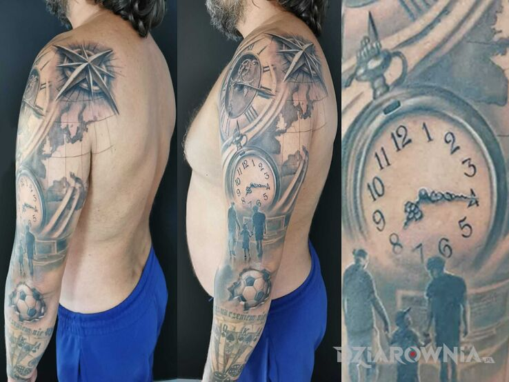 Tatuaż rękaw rodzina podróże co w życiu ważne w motywie miłosne i stylu graficzne / ilustracyjne na ramieniu