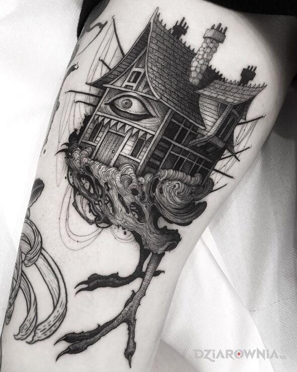 Tatuaż domek na kurzych łapkach w motywie pozostałe i stylu graficzne / ilustracyjne na udzie
