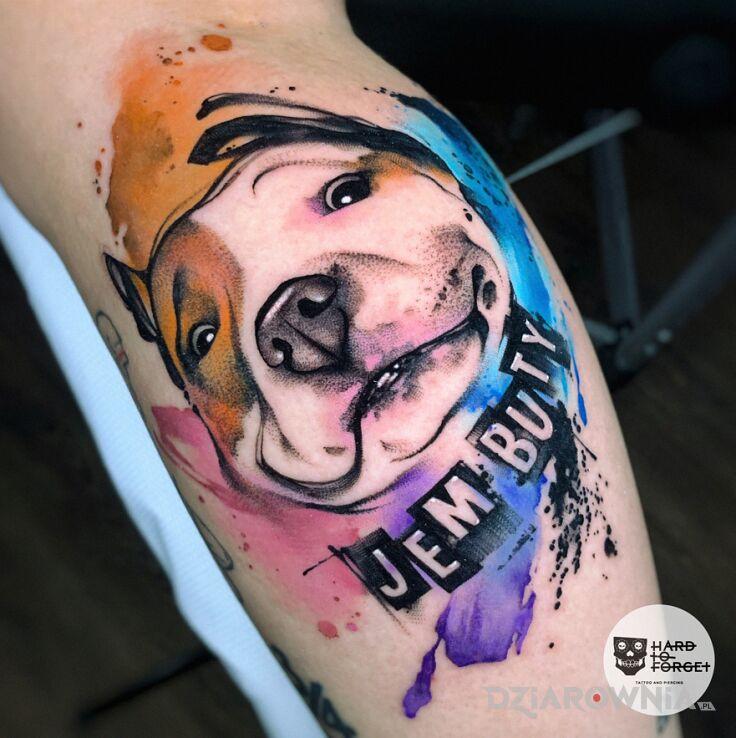 Tatuaż pieseł w motywie kolorowe i stylu graficzne / ilustracyjne na łydce