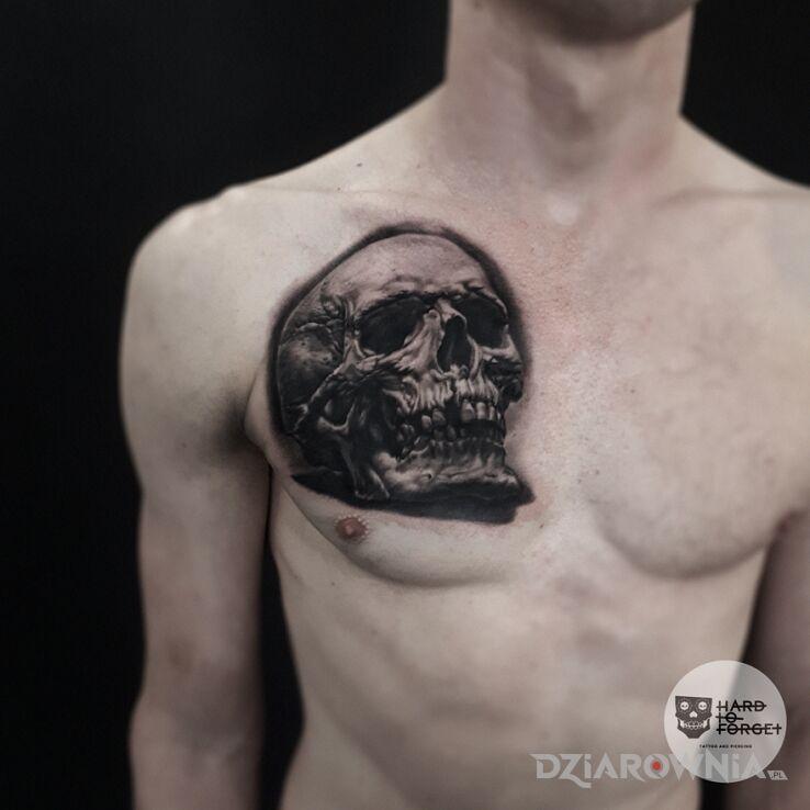 Tatuaż czaszka w motywie czaszki i stylu realistyczne na piersiach