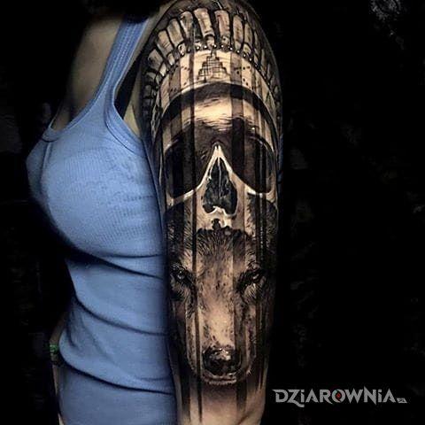 Tatuaż Indiański Wilk Autor Gacek Dziarowniapl