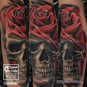 Skull and rose tattoo by KOSA