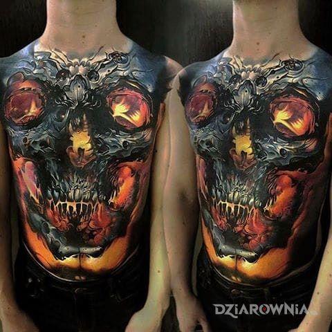 Tatuaż czaszka bólu - 3D