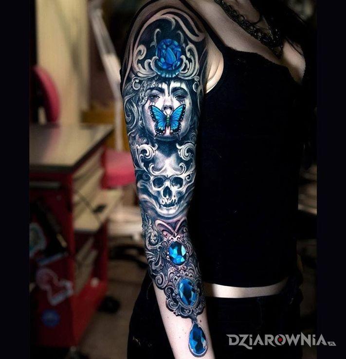 Tatuaż niebieski rękaw w motywie kolorowe na przedramieniu