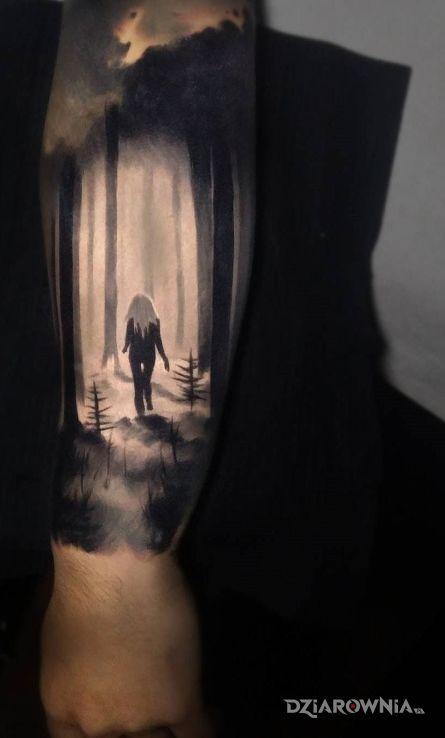 Tatuaż dziewczyna w lesie - 3D
