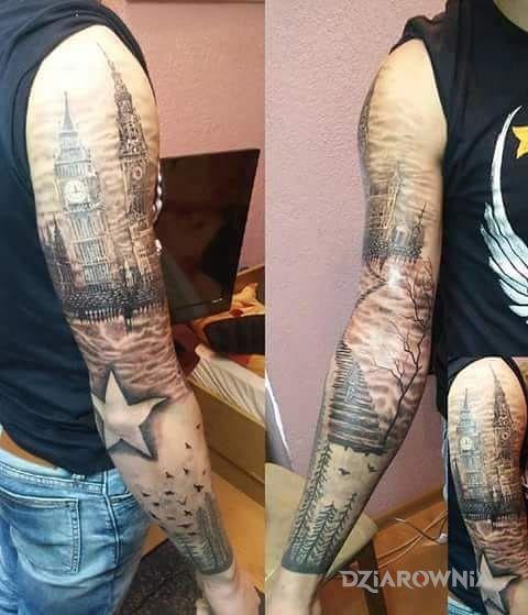 Tatuaż Rękaw Las Schody Wieże Autor Andre Dziarowniapl