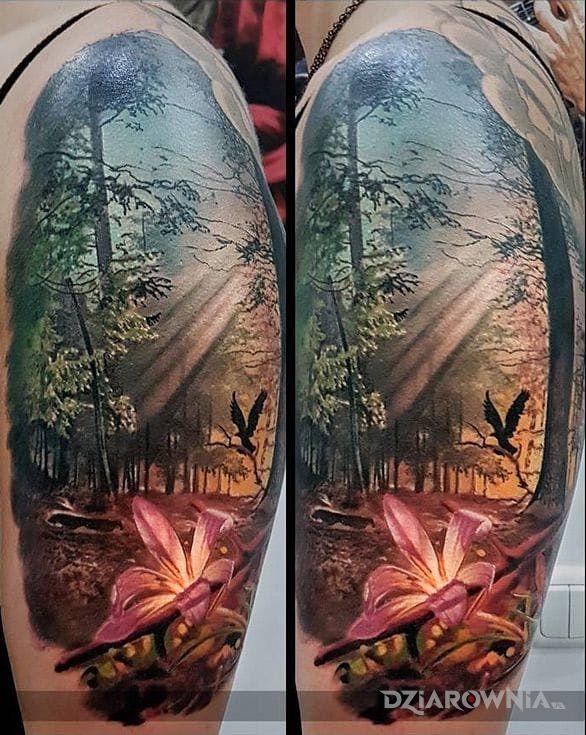 Tatuaż realistyczny las w motywie zwierzęta i stylu realistyczne na ramieniu
