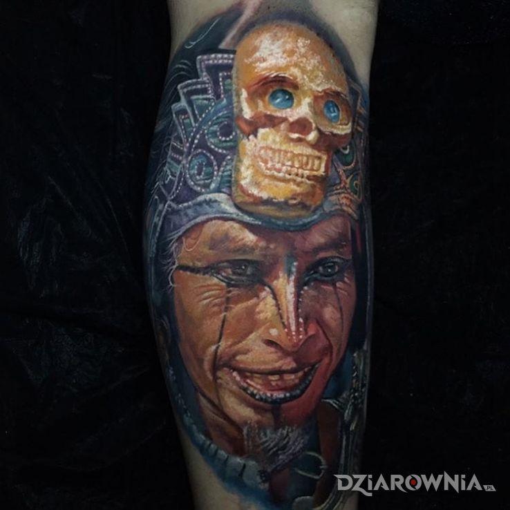Tatuaż wojownik w motywie 3D i stylu realistyczne na ramieniu