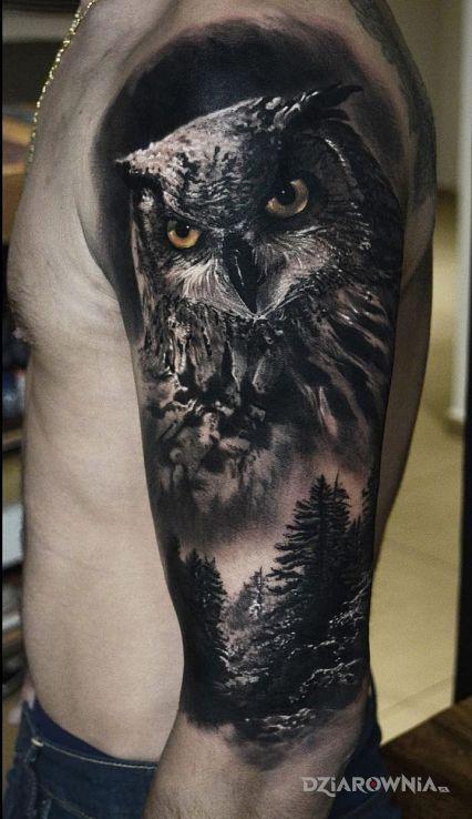 Tatuaż Realistyczna Sowa Autor Poldon Dziarowniapl