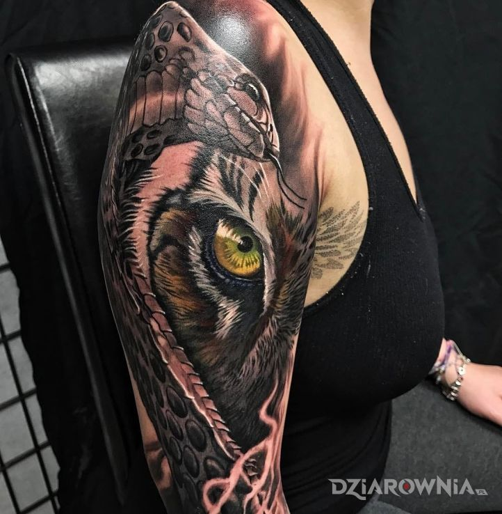 Tatuaż Wąż I Tygrys Autor Gibonyou Dziarowniapl