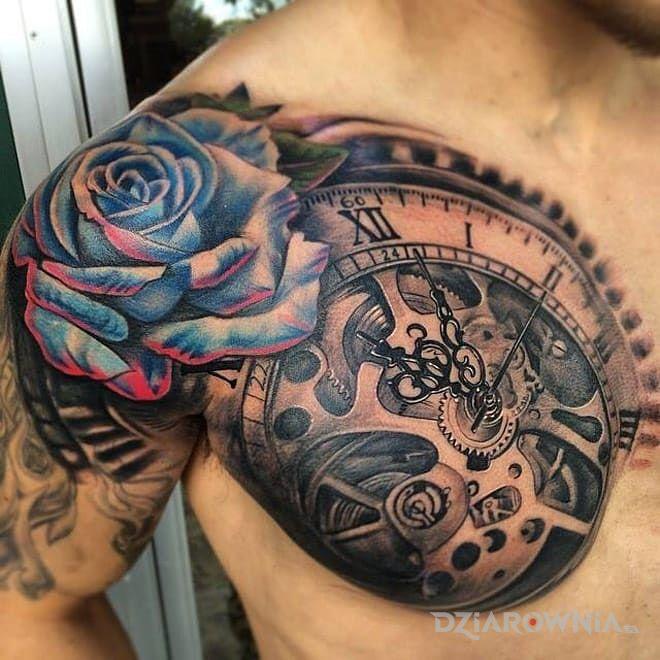 Tatuaż roza i zegar - kwiaty