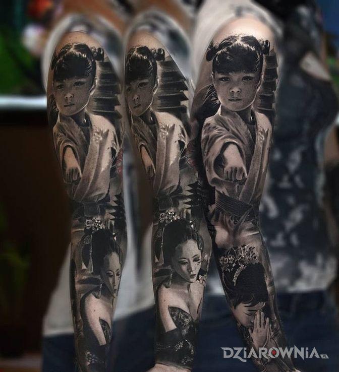 Tatuaż japan style w motywie postacie i stylu realistyczne na przedramieniu