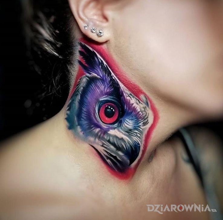 Tatuaż Różowa Sowa Autor Ivy6 Dziarowniapl