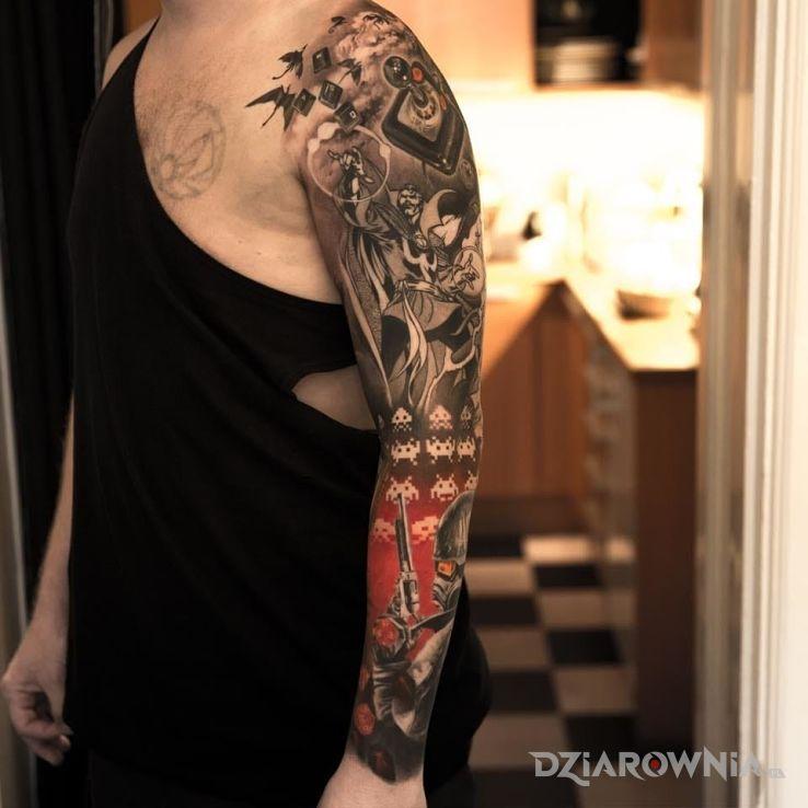Tatuaż gameowy rękaw w motywie postacie na przedramieniu