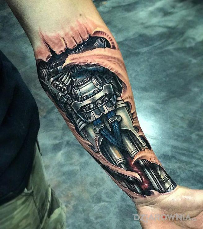 Tatuaż Biomechaniczne Przedramie Autor Pazuzu Dziarowniapl