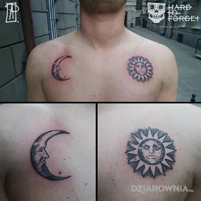 Tatuaże gwiazdy, sun and moon, dziara dla mężczyzn