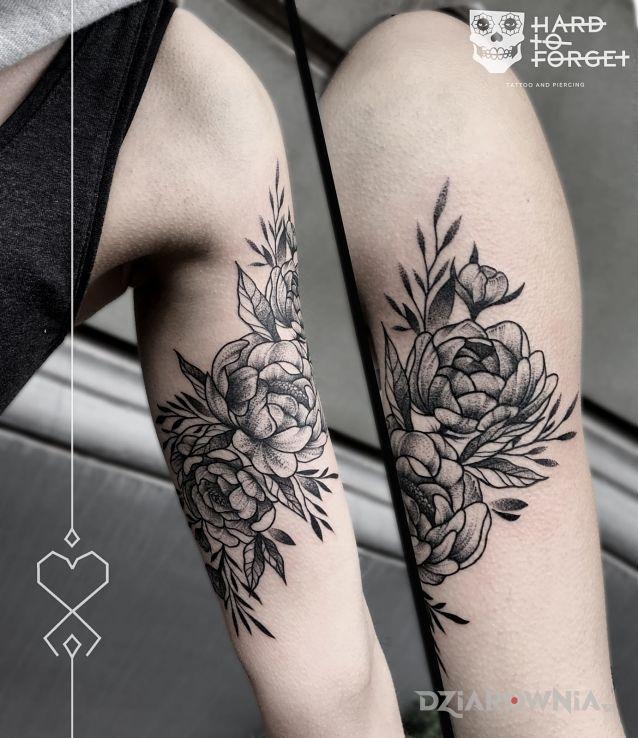 Tatuaż Piwonie Studio Hard To Forget Dziarowniapl