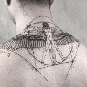 Tatuaże postacie, człowiek witruwiański, dziara dla mężczyzn