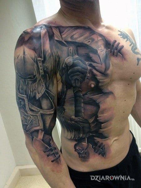 Tatuaż Wojownik Autor Honorata Amplt3 Dziarowniapl