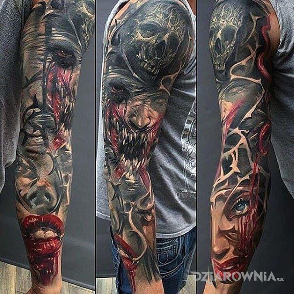 Tatuaż Złowieszczy Rękaw Autor Mega Maro Dziarowniapl