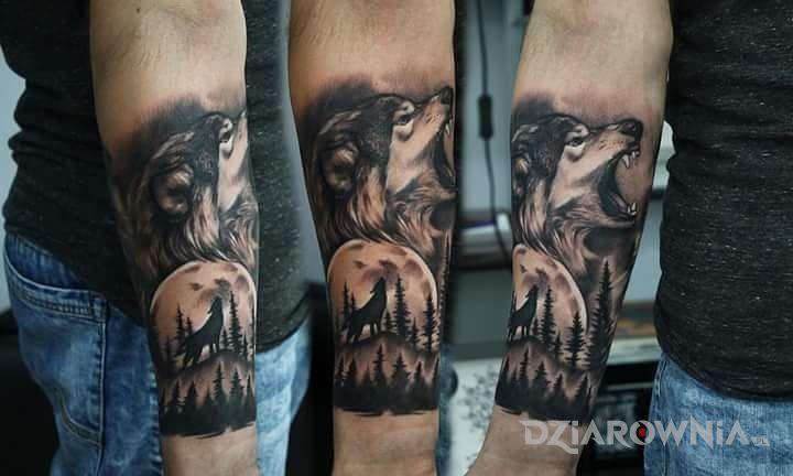 Tatuaż Wilk Autor Daniel Adamczuk Dziarowniapl