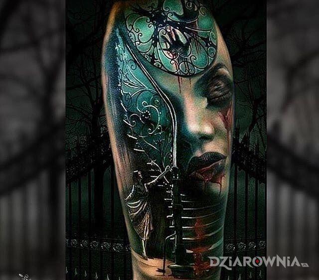 Tatuaż czuć tutaj horror w motywie twarze i stylu realistyczne na ramieniu