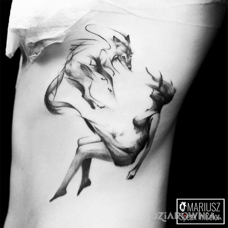 Tatuaż lekka akwarelka - zwierzęta