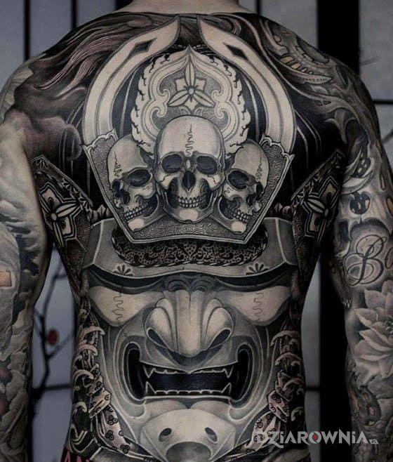 Tatuaż Maska Samuraja Autor Goo Goolen Dziarowniapl
