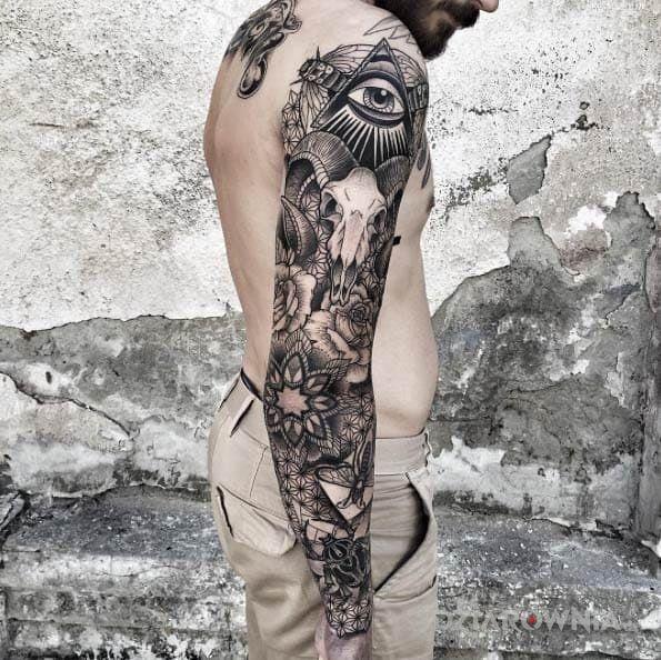 Tatuaż Różnorodny Rękaw Autor Kowalski Dziarowniapl
