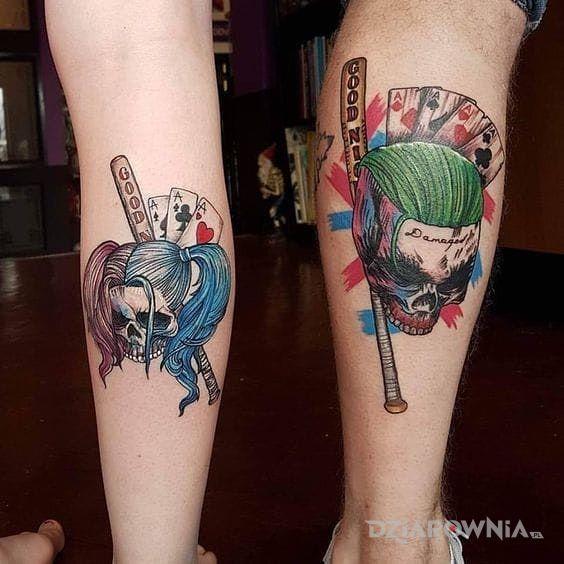 Tatuaż harley and joker - kolorowe