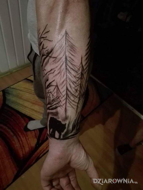 Tatuaż Wilk W Lesie Autor Mati Gibas Dziarowniapl